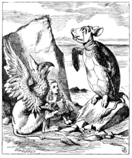 Children's book illustration with turtle figure standing on hind legs