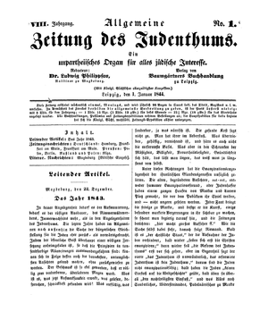 Allgemeine Zeitung des Judentums - Cover of the magazine, 1 January 1844