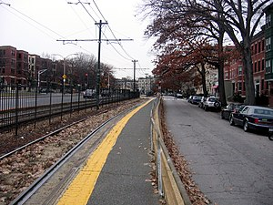 Allston Street (MBTA station) - Outbound platform at Allston Street in 2011