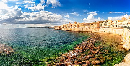 Syracuse view from the seafront of Ortigia, to the Maniace Castle. Along the island of ortigia.jpg