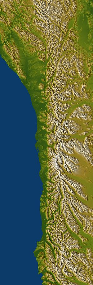 Escarpment - Shaded and colored image from the Shuttle Radar Topography Mission—shows an elevation model of New Zealand's Alpine Fault running about 500 km (300 mi) long. The escarpment is flanked by a chain of hills squeezed between the fault and the mountains of New Zealand's Southern Alps. Northeast is towards the top.