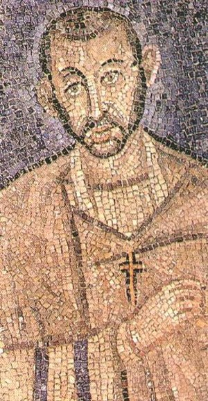 Ambrose - Early mosaic of Ambrose that might be an actual portrait.
