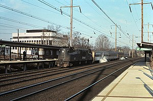 Metropark station - An Amtrak train at Metropark station in January 1976