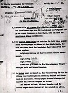 An official order of Adolf Hitler for attack on Poland 31.08.1939