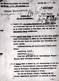 An official order of Adolf Hitler from 31.08.1939 for attack on Poland next day