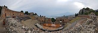 "Ancient theatre of Taormina - Panoramic view of ""Teatro Antico di Taormina"""