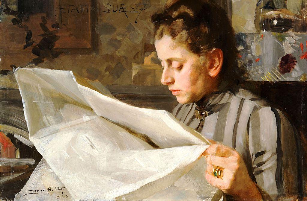 Anders Zorn - Emma Zorn, Läsande