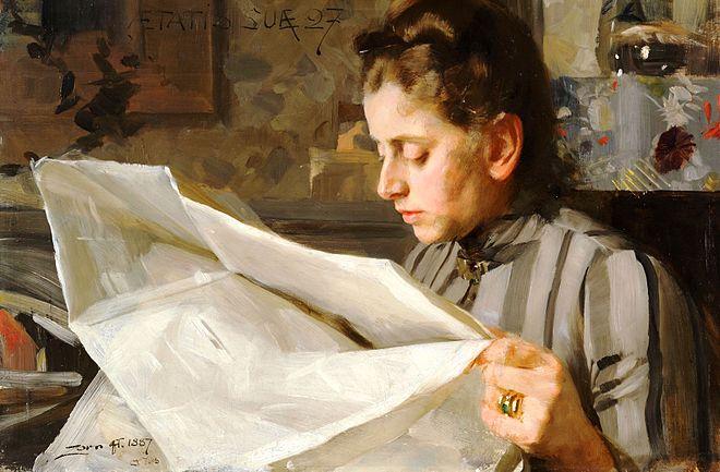 ZORN Anders Emma Zorn 1887