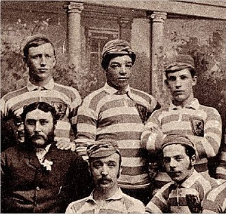 Scotland national football team - Scotland players, including Andrew Watson (top centre), wearing the Rosebery colours of primrose and pink in 1882