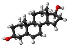 Androstenediol molecule ball.png