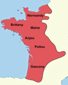 Värillinen kartta keskiaikaisesta Ranskasta, joka näyttää Angevinin alueet Ranskassa