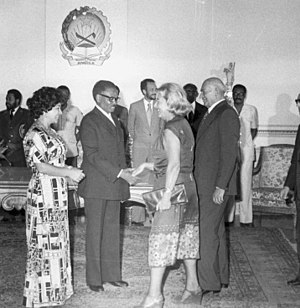 Angolan Civil War - Agostinho Neto, MPLA leader and Angola's first president, meets with Poland's ambassador in Luanda, 1978