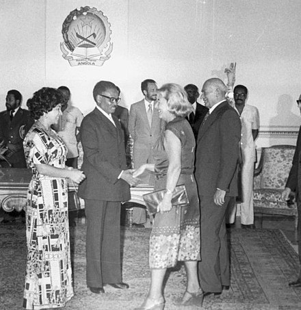 Agostinho Neto, MPLA leader and Angola's first president, meets with Poland's ambassador in Luanda, 1978 Angola 1978.jpg