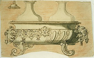 Design for a basin (?) and two bottles