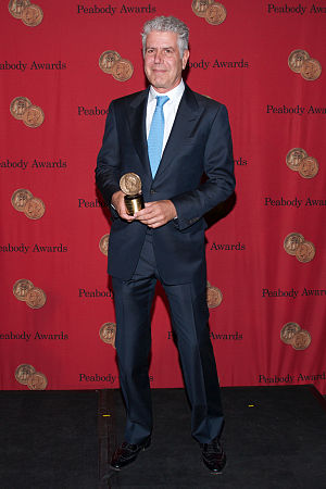 Anthony Bourdain - Bourdain with his Peabody Award in 2014