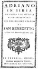 Antonio Sacchini - Adriano in Siria - titlepage of the libretto - Venice 1771.png