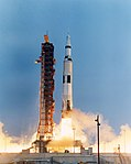 Apollo 13 yaws away from the launch tower during lift-off.jpg