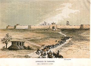 Yarkant County - Yarkand, 1868, showing city walls and gallows