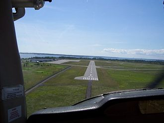 Kingston Norman Rogers Airport - On approach to runway 25 in a Cessna C-150