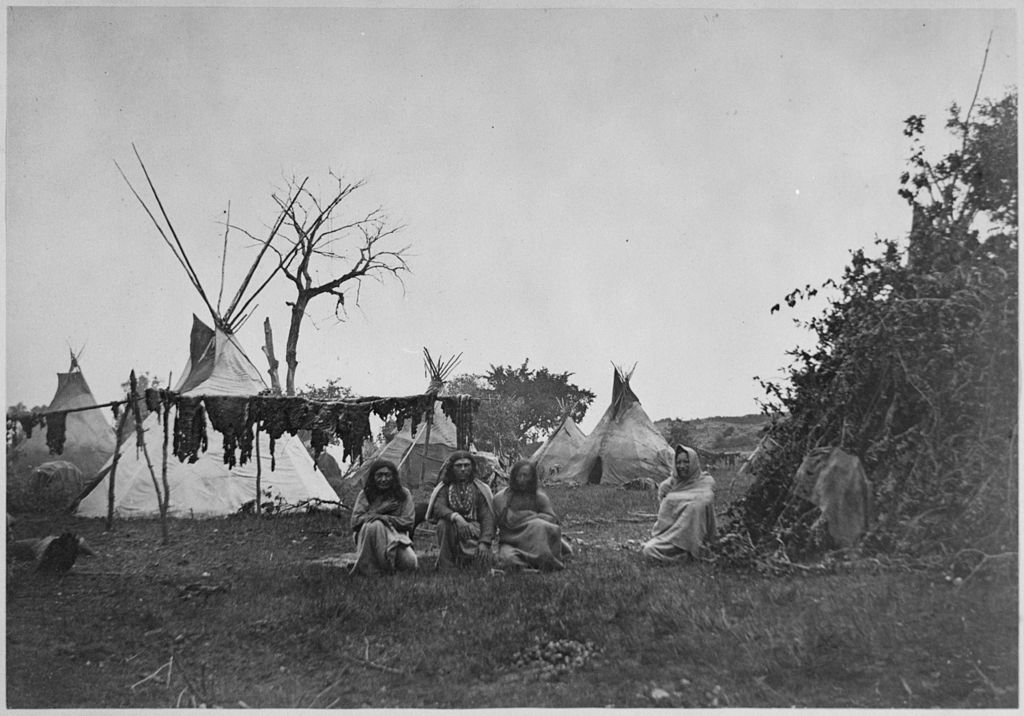 File Arapaho Camp With Buffalo Meat Drying Near Fort Dodge