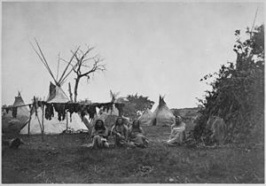 Battle of Rush Creek - Image: Arapaho camp with buffalo meat drying near Fort Dodge, Kansas, 1870 NARA 518892