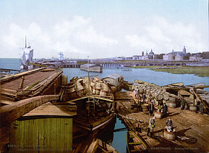 Pomor trade - The harbour in Arkhangelsk in 1896, at the peak of the pomor trade.