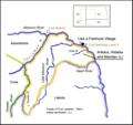 Arikara, Hidatsa and Mandan territory, 1851. Like a Fishhook Village, Fort Berthold I and II and Fort Buford.png