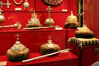 Regalia of the Russian tsars - Russian historical regalia in Kremlin, part of showcase.