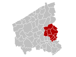 Arrondissement of Tielt - Image: Arrondissement Tielt Belgium Map