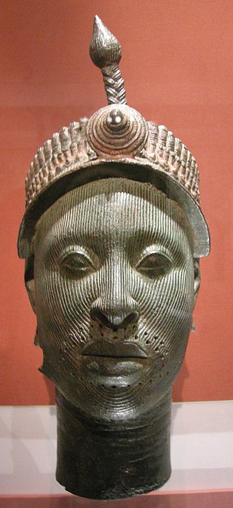 "12th century ""Bronze Head from Ife"", actually of ""heavily leaded zinc-brass"" Arte yoruba, nigeria, testa da ife, 12-15mo secolo.JPG"
