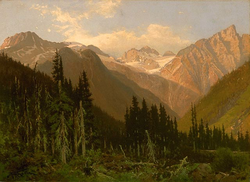 At the Rogers Pass, a painting by John A. Fraser.png