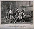Atleta Narciso strangling Comodo. Engraving by G. Mochetti a Wellcome V0041508.jpg