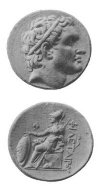 Coin struck during the reign of Attalus I, depicting the head of Attalus' great uncle Philetaerus on the obverse and seated Athena, Greek goddess of war and wisdom, on the reverse