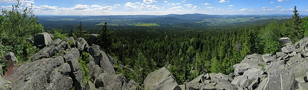View from the granite blockfield on the summit of Kösseine into the High Fichtel mountains