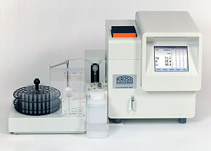 Photoelectric flame photometer - Flame photometer FP8800 for simultaneous determination of up to 4 alkali and alkali earth element concentrations in aqueous samples. Courtesy of A.KRÜSS Optronic
