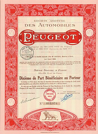 Peugeot - old Peugeot security paper