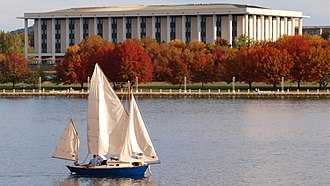 National Library of Australia - The library seen from Lake Burley Griffin in autumn.