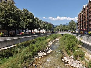 Leysse - River Leysse in Chambéry downtown.