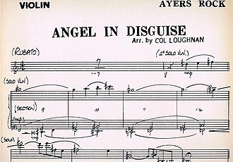 """Ayers Rock (band) - Manuscript of the violin part of """"Angel in Disguise"""" from Beyond"""