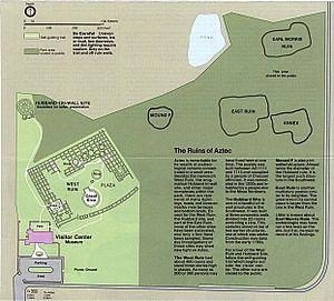 Aztec Ruins National Monument - Image: Aztec Ruins National Monument NPS site map