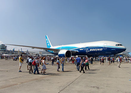 The record-breaking 777-200LR Worldliner, presented at the Paris Air Show 2005. B777-200LR Paris Air Show 2005 display.jpg