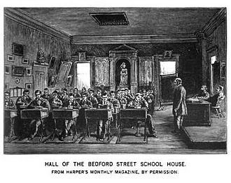 Boston Latin School - Image: BLS HALL OF THE BEDFORD STREET SCHOOL HOUSE