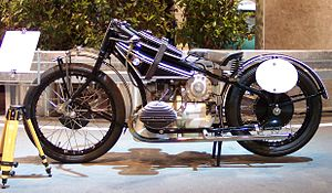 Forced induction in motorcycles - BMW WR 750 from 1930s, note supercharger under rider's saddle