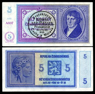 Bohemian and Moravian koruna - Image: BOH&MOR 2 Protectorate of Bohemia and Moravia 5 Korun (1939)ND