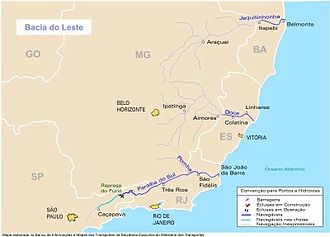 Jequitinhonha River - Southeastern Brazil with major rivers highlighted; Jequitinhonha is the northernmost