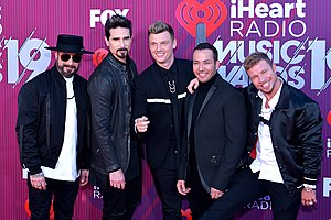 Backstreet Boys at the 2019 iHeartRadio Music Awards in Los Angeles, California. From left to right: AJ McLean, Kevin Richardson, Nick Carter, Howie Dorough, Brian Littrell