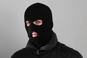 Balaclava (clothing) - A rib-knit three-hole balaclava :
