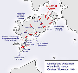 A map depicting the fighting on Saaremaa island
