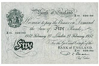 Percival Beale - A Percival Beale signed Bank of England £5 note of 1952.