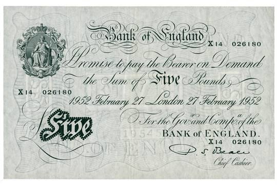 Bank of England £5 note 1952